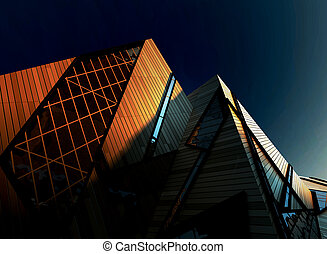 Modern Corporate Buildings in Downtown with Sun Light -...