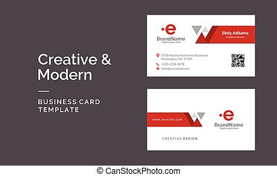 Modern corporate Business Card Template with red and white color. vector illustrations