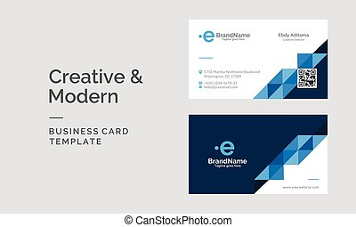 Modern corporate Business Card Template with white and blue color