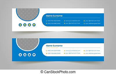 Modern corporate mail business email signature vector templates.