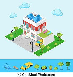 Modern Cottage House with Sun Batteries, Garage and Green Roof. Isometric Building