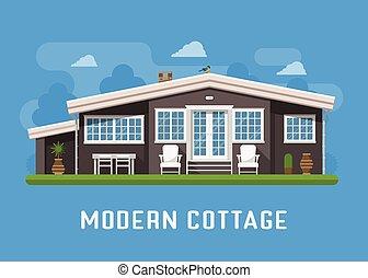 Modern Cottage on Rural Background