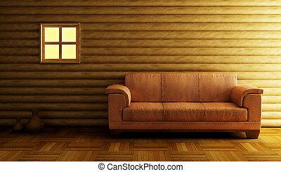 modern couch beside log wall