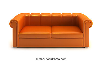 modern couch on white background