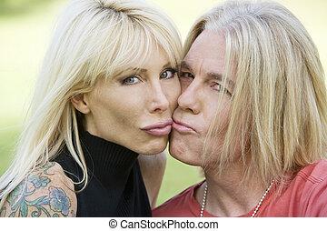 Modern Couple Kissing