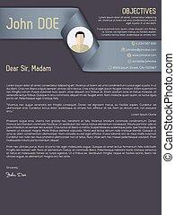 Modern cover letter cv resume with ribbon header