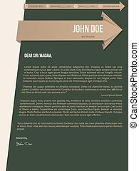 Modern cover letter resume with brown ribbons