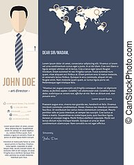 Modern cover letter template with business man