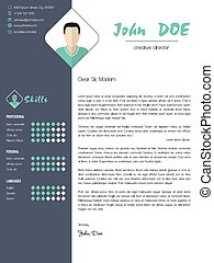 Modern cover letter with design elements