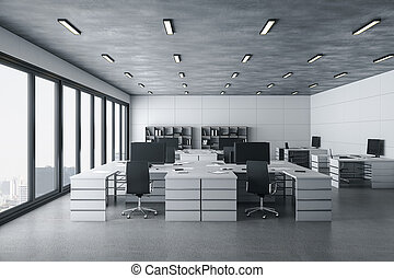 Modern coworking office interior with daylight.