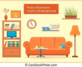 living room interior with sofa and furniture