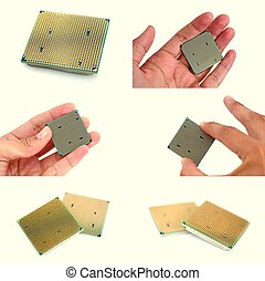 Modern CPU in mens hands set of images. Back side of microprocessor with golden legs
