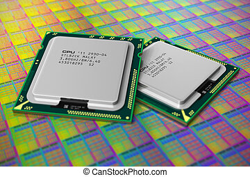 Modern CPUs on silicon wafer - Macro view of modern CPUs on...