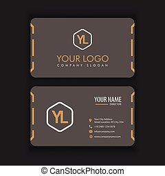 Modern Creative and Clean Business Card Template with orange dark color