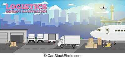 Modern creative delivery and shipping logistics service in business and freight cargo concept illustration. Flat color Vector.