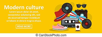 Modern culture banner horizontal concept. Flat illustration...