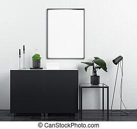 Modern cupboard with empty billboards
