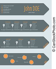 Modern curriculum vitae resume with arrows