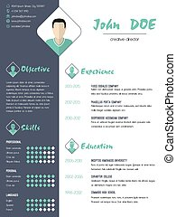 Modern curriculum vitae resume with photo
