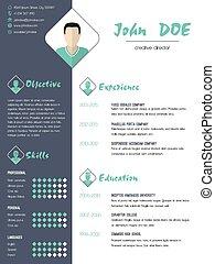 Modern curriculum vitae resume with photo