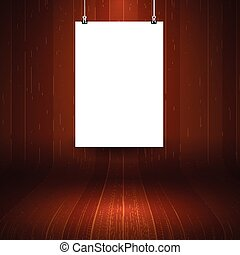 wooden display background with blank hanging picture