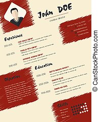 Modern cv curriculum vitae resume with scribbled elements