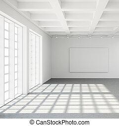 modern, dachgeschoss, leerer