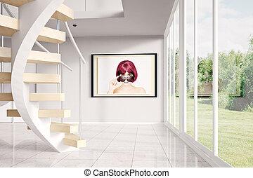 modern, dachgeschoss, mit, bild