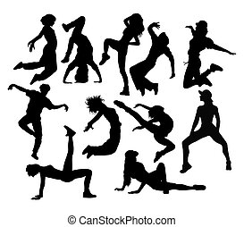 Modern Dance, silhouettes art vector design