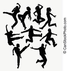 Modern dance silhouettes