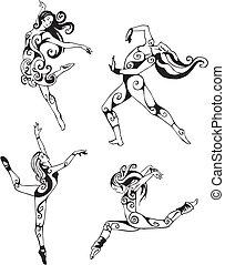 Women in modern dance. Set of black and white vector illustrations.
