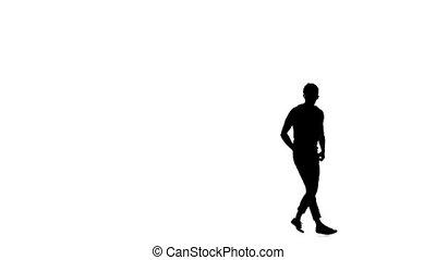 Modern dancer dancing brake-dance on white, slow motion,...