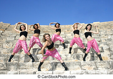 Modern dancers - Beautiful modern dancers on the ancient...