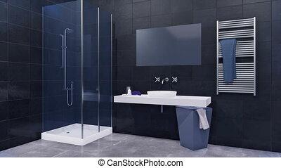 Modern dark bathroom interior with glass shower 3D - Modern...