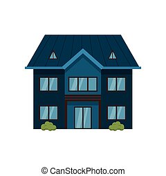 Modern dark blue two-story house isolated on white ...