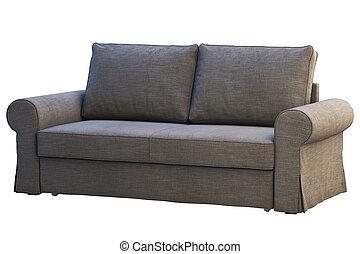 Modern dark gray fabric sofa. 3d render