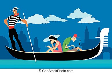 Couple of tourists riding a Venetian gondola, staring at their wifi gadgets, ignoring the scenery, EPS 8 vector illustration, no transparencies