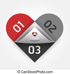 Modern Design abstract heart template / can be used for infographics / numbered banners / horizontal cutout lines / graphic or website layout vector