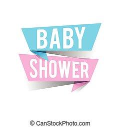 Modern design baby shower text on speech bubbles. Vector illustration
