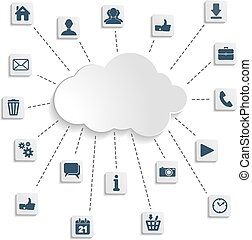 Modern design flat social networks icon set with cloud computing