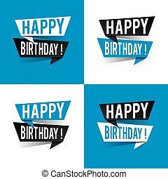 Modern design happy birthday text on speech bubbles. Vector illustration
