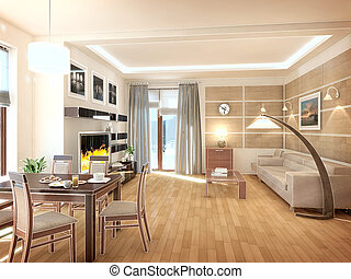 Modern design interior of living-room. 3D render