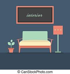 Modern Design Interior Sofa Vector Illustration.