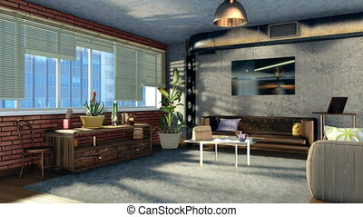 Modern design living room in loft apartment 4K - Modern...