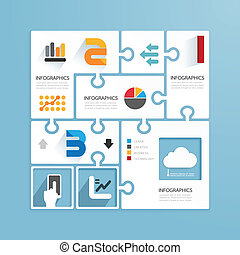 Modern Design Minimal style infographic paper jigsaw ...