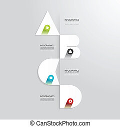 Modern Design Minimal style infographic template with alphabet /