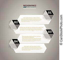 Modern Design Minimal style infographic template with alphabet / infographics / numbered banners / horizontal cutout lines / graphic or website layout vector