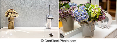 modern design of chrome faucet with flowers
