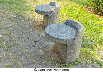 stone seat in the garden