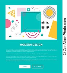 Modern Design of Web Poster with Buttons Vector